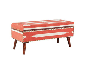 Accent : Benches & Ottomans - Orange - Upholstered Storage Bench Orange And Beige