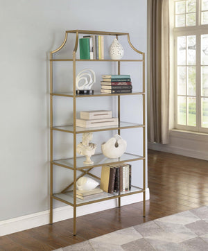 Open image in slideshow, Home Office : Bookcases - 5-tier Tempered Glass Shelves Bookcase Matte Gold