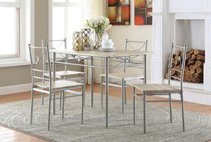 Open image in slideshow, Dining: Packaged Sets: Metal - 5-piece Rectangular Dining Set Brushed Silver