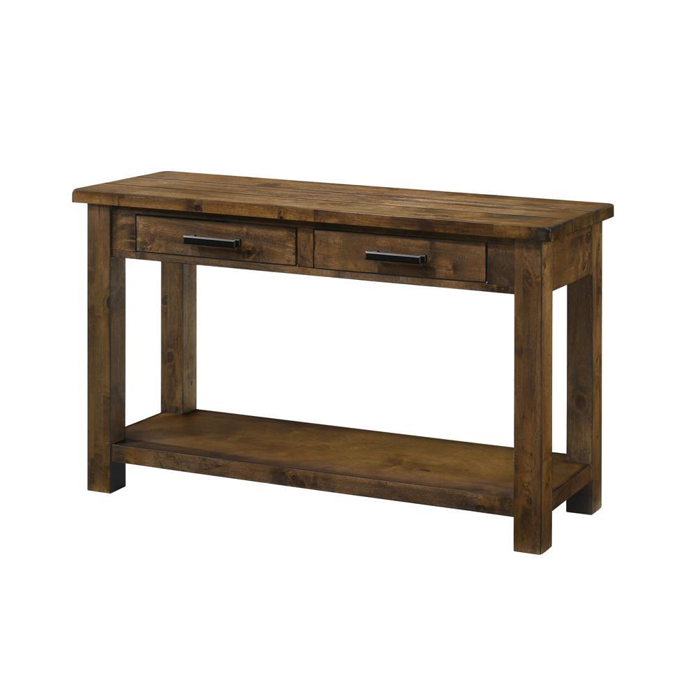 Leaton 2-drawer Sofa Table Rustic Golden Brown