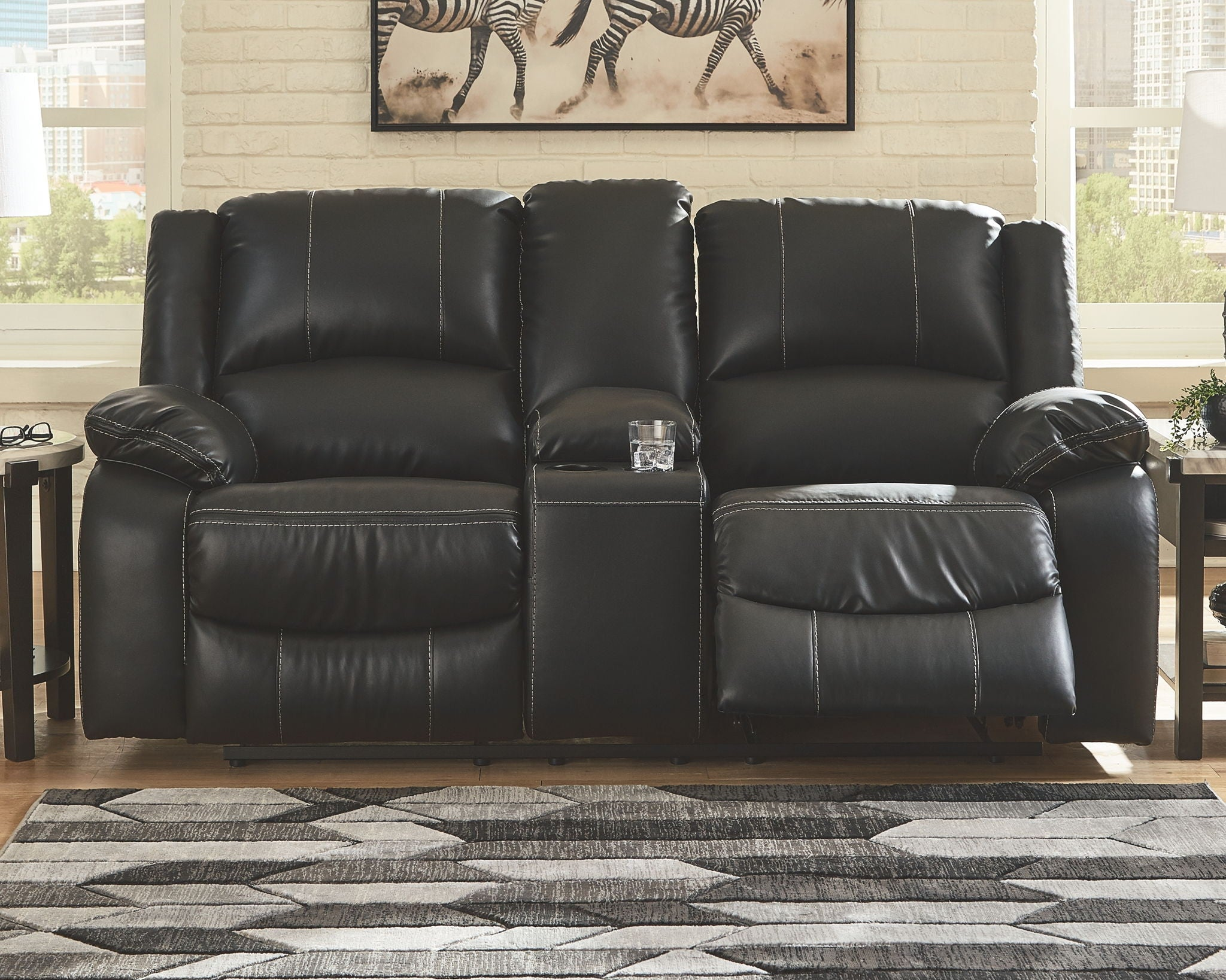 Calderwell Reclining Loveseat with Console
