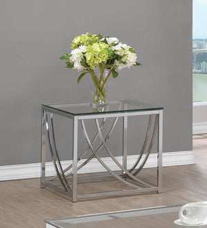 Open image in slideshow, Living Room: Glass Top Occasional Tables - Glass Top Square End Table Accents Chrome