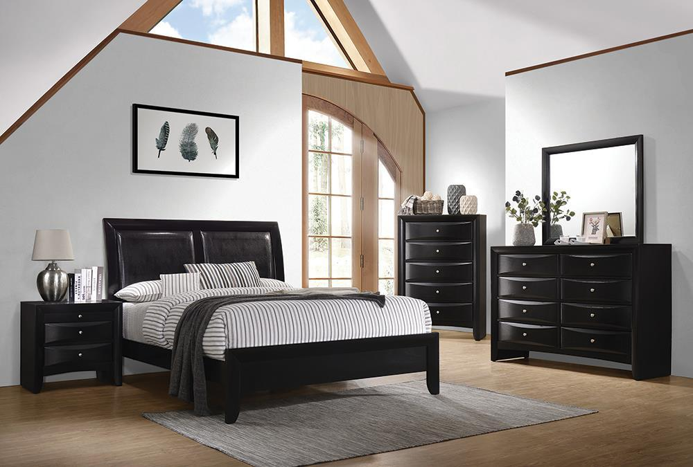 Briana Collection - Black - Briana Queen Upholstered Panel Bed Black