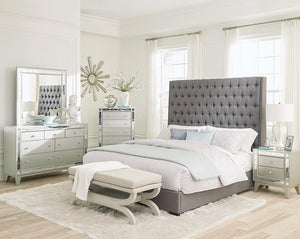 Camille Upholstered Bed - Grey - Camille California King Button Tufted Bed Grey