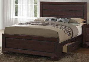 Fenbrook Collection - Fenbrook Transitional Dark Cocoa Queen Bed Box Three Drawer Box