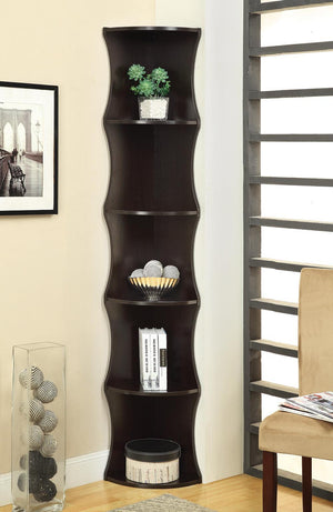 Open image in slideshow, Home Office : Bookcases - 5-shelf Wave-like Corner Bookcase Cappuccino