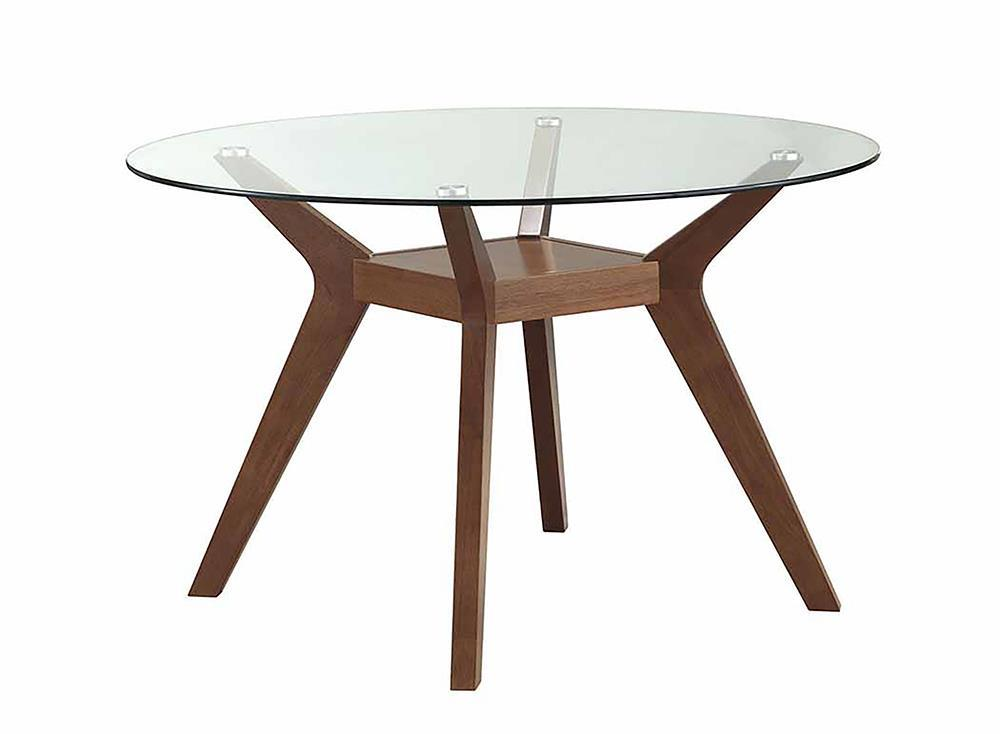 Paxton Collection - Paxton Round Glass Top Dining Table Nutmeg