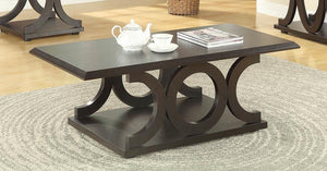 Open image in slideshow, Living Room: Wood Top Occasional Tables - C-shaped Base Coffee Table Cappuccino