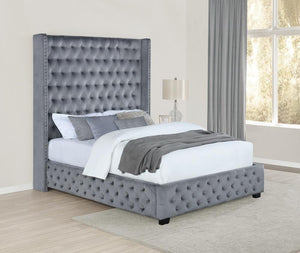 Open image in slideshow, Rocori Upholstered Bed - Grey Velvet - Rocori Queen Wingback Tufted Bed Grey