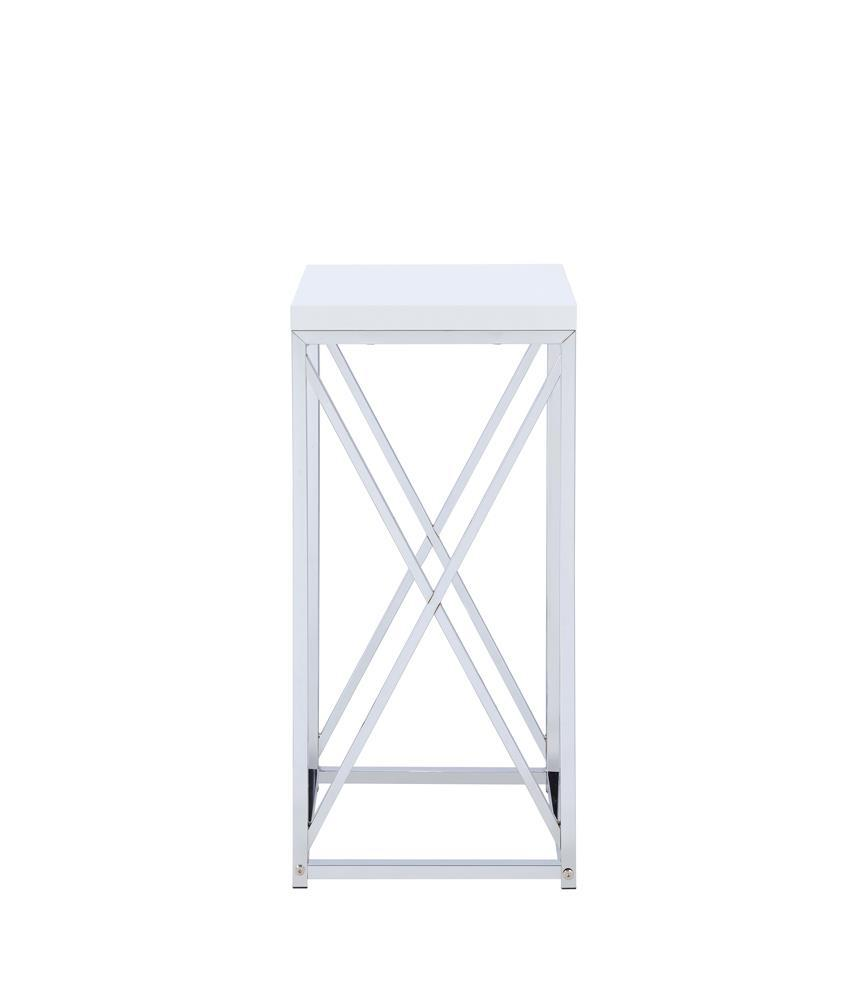Accent Table With X-cross Glossy White And Chrome