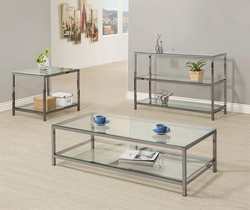 Living Room: Glass Top Occasional Tables - Ontario Sofa Table With Glass Shelf Black Nickel