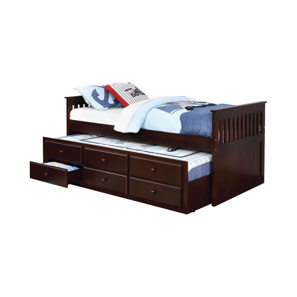 Twin Captain's Bed With Trundle - Twin Captain's Daybed With Storage Trundle Cappuccino