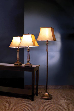 Open image in slideshow, Beige - 3-piece Lamp Set Brown And Beige