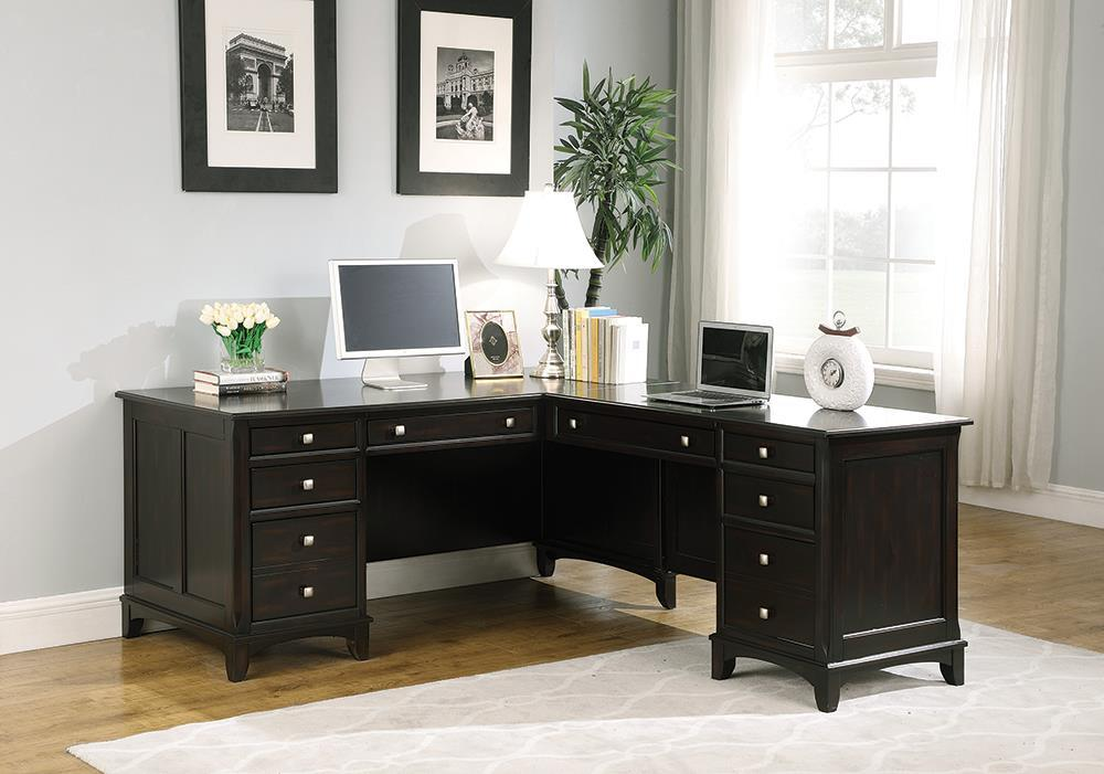 Garson Collection - Garson 8-drawer L-shaped Office Desk Cappuccino