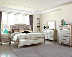 Bling Game Collection - Metallic - Bling Game California King Panel Bed Metallic Platinum
