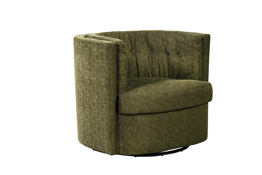 Mossy Green - Recessed Arm Tufted Back Swivel Chair Moss Green