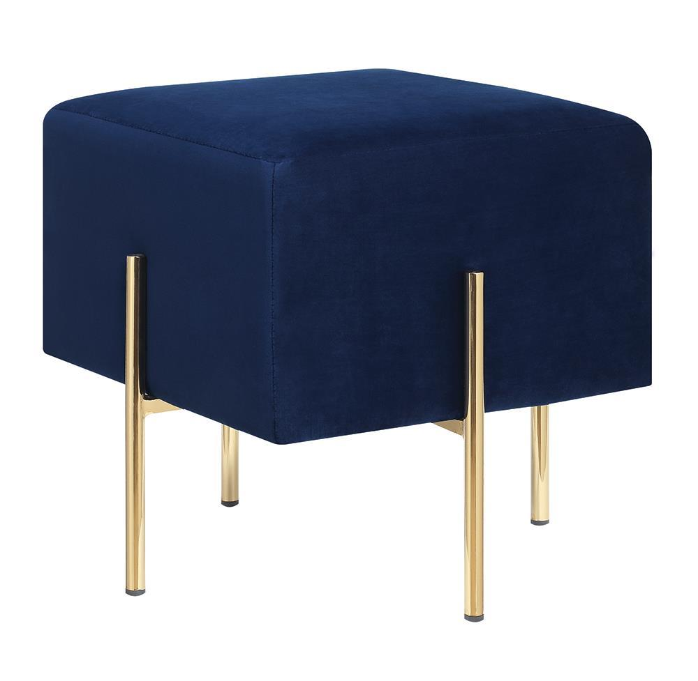 Blue - Square Upholstered Ottoman Blue