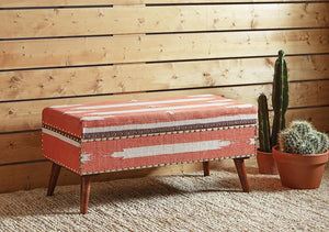 Open image in slideshow, Accent : Benches & Ottomans - Orange - Upholstered Storage Bench Orange And Beige