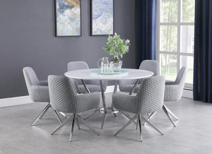 Open image in slideshow, Abby 5-piece Dining Set White And Light Grey