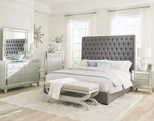Open image in slideshow, Camille Upholstered Bed - Grey - Camille California King Button Tufted Bed Grey