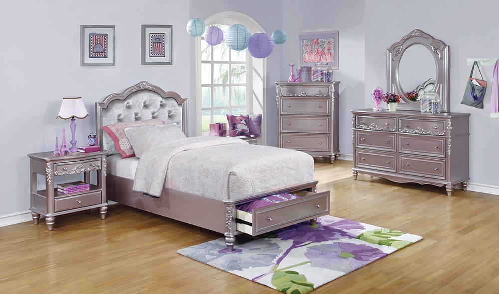 Caroline Collection - Metallic - Caroline Twin Storage Bed Metallic Lilac And Grey