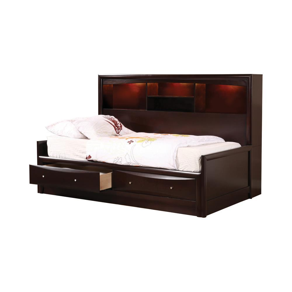 Phoenix Collection - Phoenix Twin Daybed With Bookcase And Storage Drawers Cappuccino
