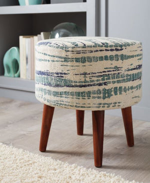 Open image in slideshow, Accents : Ottomans - Blue White - Round Accent Stool Blue And White