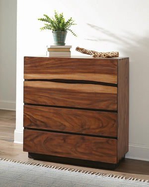 Open image in slideshow, Winslow 4-drawer Chest Smokey Walnut And Coffee Bean