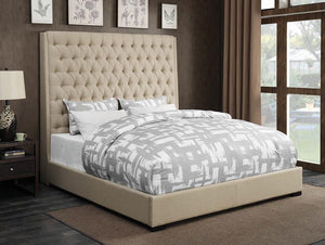 Open image in slideshow, Camille Upholstered Bed - Cream - Camille California King Button Tufted Bed Cream