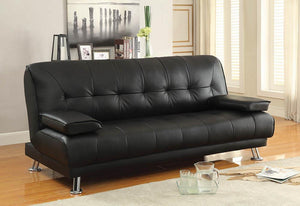 Open image in slideshow, Living Room : Sofa Beds - Black - Pierre Tufted Upholstered Sofa Bed Black