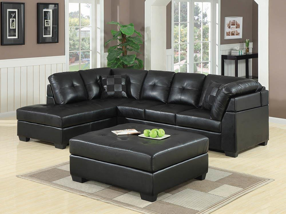 Darie Sectional - Black - Darie Cushion Back Tufted Sectional Sofa Black