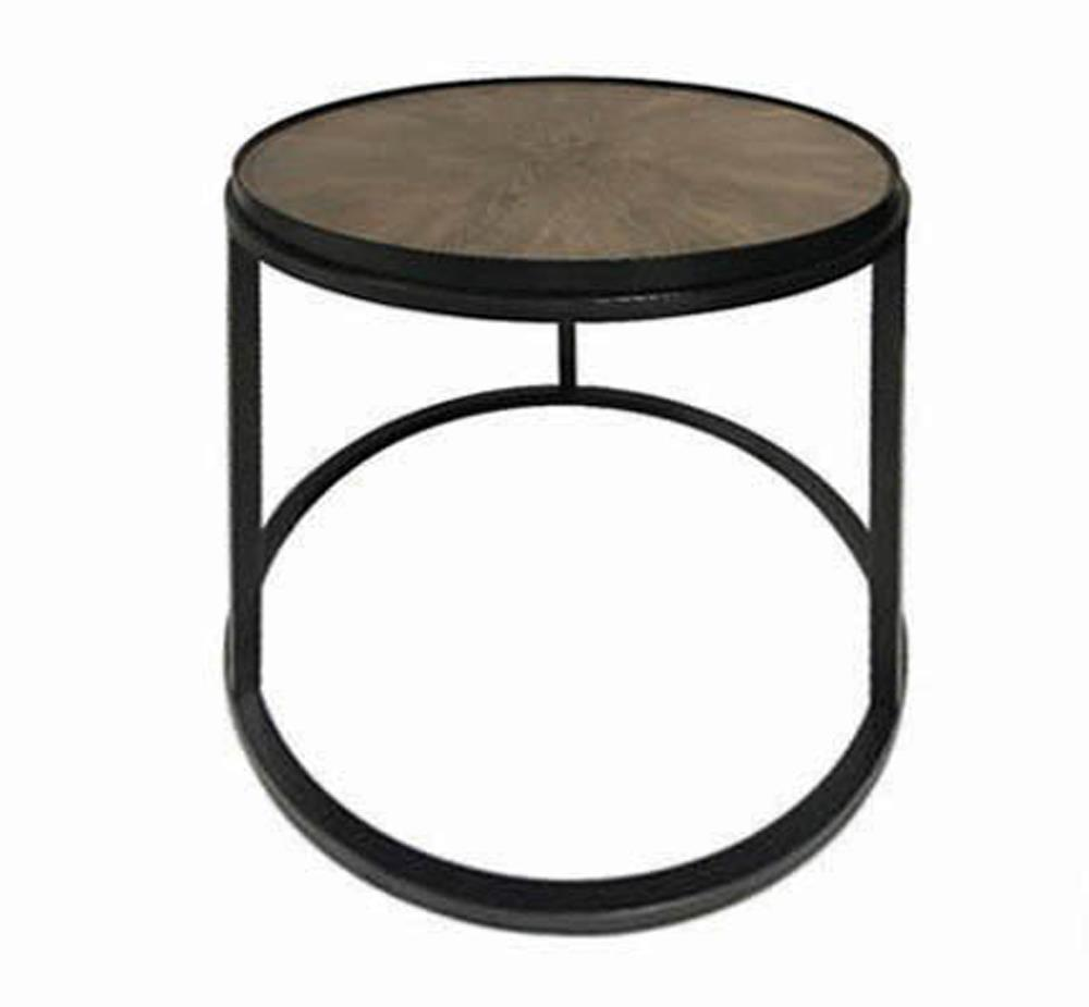 Round End Table Weathered Elm And Gunmetal