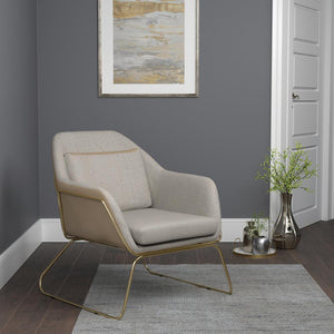 Open image in slideshow, Beige - Metal Sled Leg Accent Chair Beige