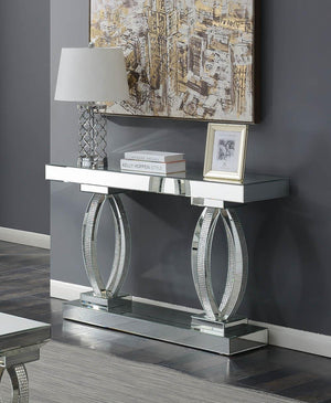 Open image in slideshow, Rectangular Sofa Table With Shelf Clear Mirror