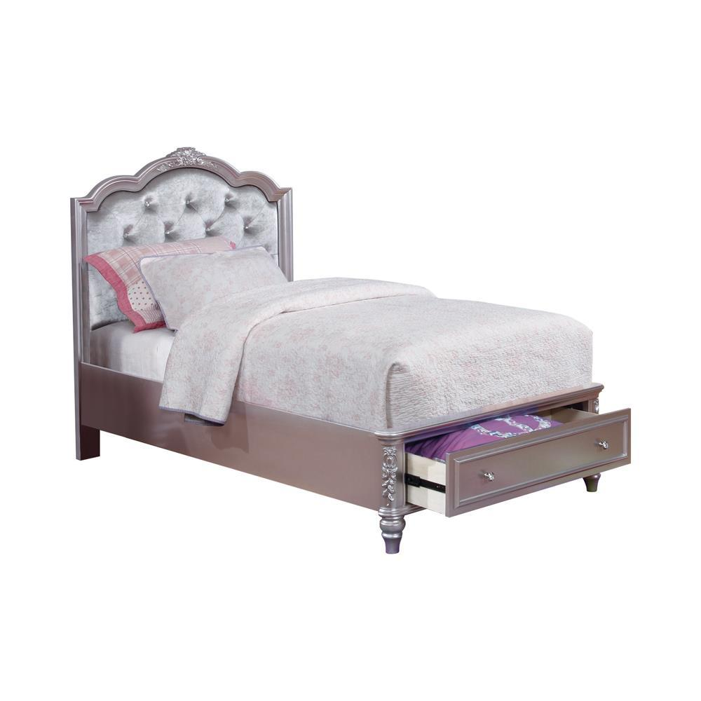 Caroline Collection - Metallic - Caroline Full Storage Bed Metallic Lilac And Grey