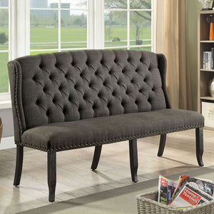 Sania - 3-Seater Loveseat Bench - Antique Black