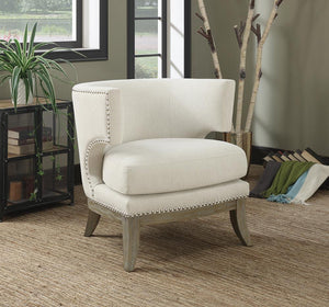 Open image in slideshow, Accents : Chairs - White - Barrel Back Accent Chair White And Weathered Grey