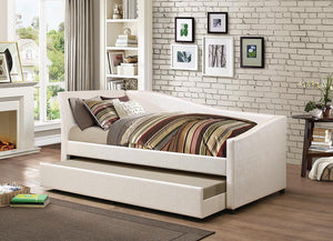 Open image in slideshow, Twin Daybed With Trundle - Ivory - Upholstered Twin Daybed With Trundle Ivory