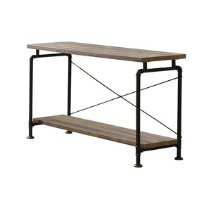 Open image in slideshow, Shelf Storage Sofa Table Rustic Oak And Black