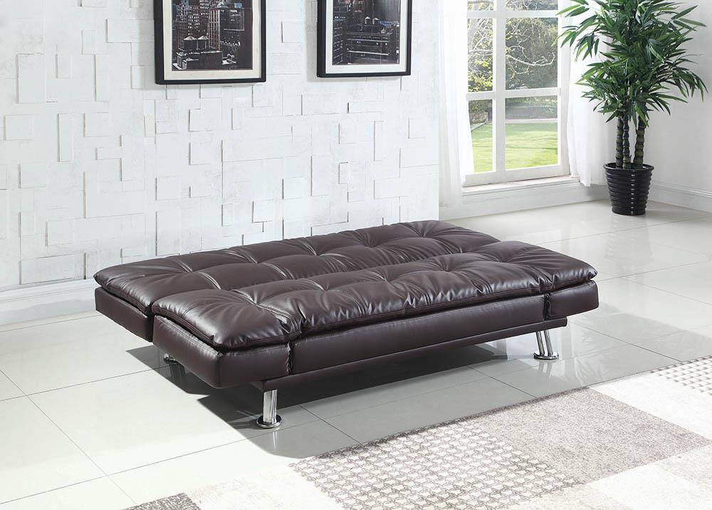 Dilleston Collection - Brown - Dilleston Tufted Back Upholstered Sofa Bed Brown