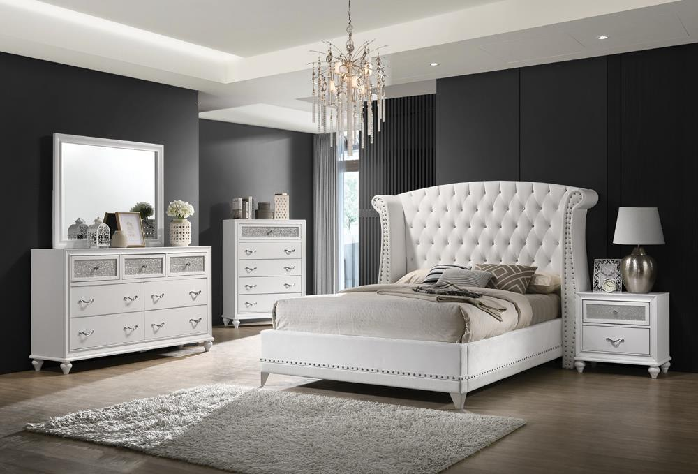 Barzini Upholstered Bed - White Velvet - Barzini California King Wingback Tufted Bed White