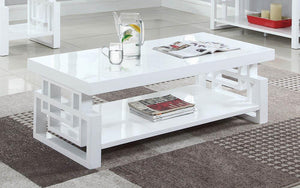 Open image in slideshow, Rectangular Coffee Table High Glossy White