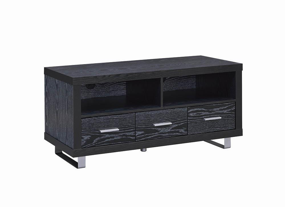 "Living Room : Tv Consoles - 48"" 3-drawer Tv Console Black Oak"