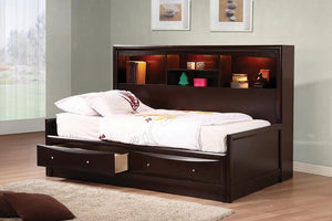 Open image in slideshow, Phoenix Collection - Phoenix Twin Daybed With Bookcase And Storage Drawers Cappuccino