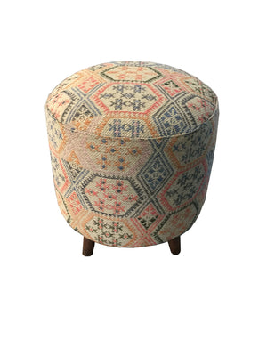 Open image in slideshow, Accent : Accent Stools - Multi-color - Ikat Pattern Round Accent Stool Multi-color