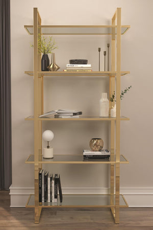 Open image in slideshow, Glass Shelf Bookcase Polished Gold