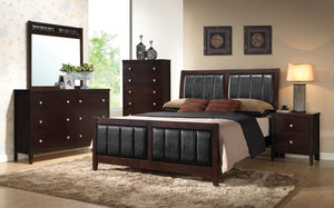 Open image in slideshow, Carlton Cappuccino Upholstered Queen Four-piece Bedroom Set