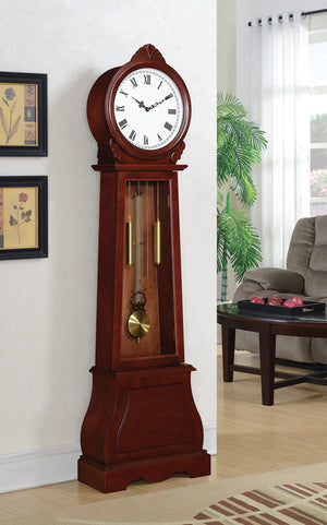 Open image in slideshow, Grandfather Clock With Chime Brown Red