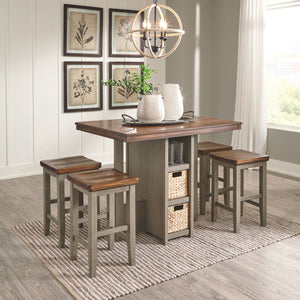 Open image in slideshow, Lettner Counter Height Dining Room Table and Bar Stools (Set of 5)