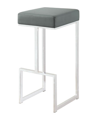 Open image in slideshow, Bar Stools: Metal Fixed Height - Grey - Square Bar Stool Grey And Chrome